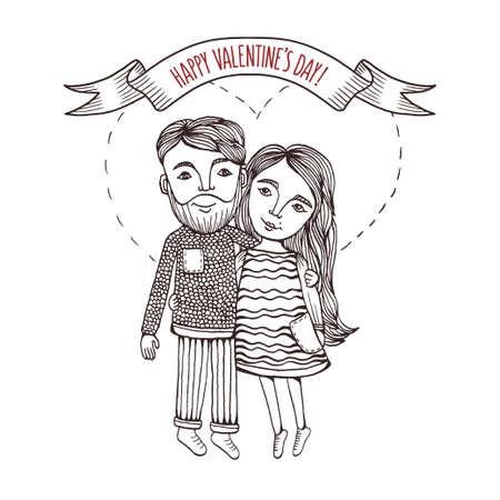 Saint-Valentin carte de voeux de jour avec la main dessinée garçon et une fille avec le coeur coup derrière. Graphique Pen. Vintage vector illustration.