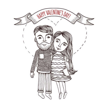 Valentine day greeting card with hand drawn boy and girl with heart stroke behind. Pen graphic. Vintage vector illustration. Illustration