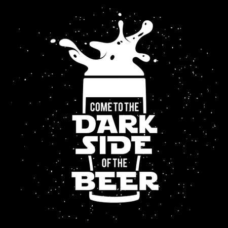 印刷のビールのダークサイド。黒板ビンテージ イラスト。ビール広告の創造的なトレンディなデザイン要素です。