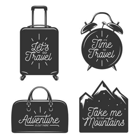 Viajes conjunto de la tipografía de elementos de diseño. Frases motivacionales. Vamos a ir de viaje. Su tiempo para viajar. Maleta, bolso, reloj despertador y montañas siluetas. ilustración vectorial de la vendimia.