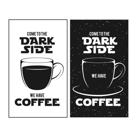 print shop: Dark side of coffee print. Chalkboard vintage illustration. Creative trendy design element for coffee shop or cafe advertising.