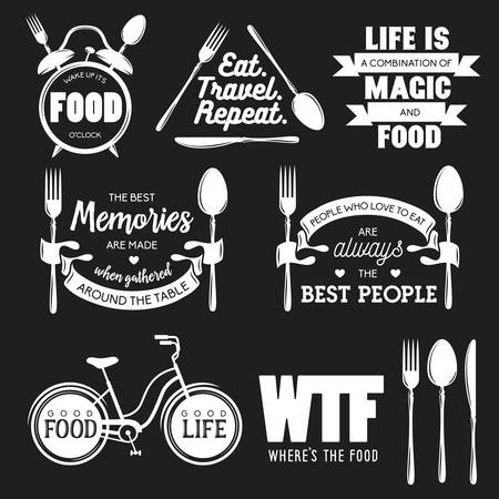 빈티지 식품 관련 표기 따옴표의 집합입니다. 벡터 일러스트 레이 션. 주방 인쇄 디자인 요소입니다.