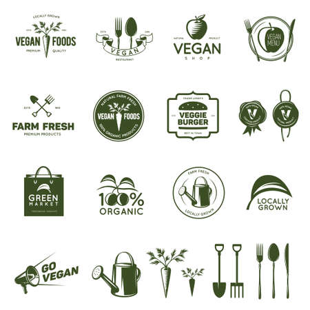 Vegan related vintage badges, labels and design elements. Vegetarian emblems for shop, cafe, restaurant. Vector illustration.