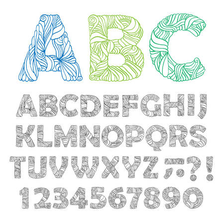 Hand drawn ornate alphabet. Letters, numbers, signs. Trendy design elements for  t-shirt prints, posters, tea cups, house decoration. Vintage vector illustration.