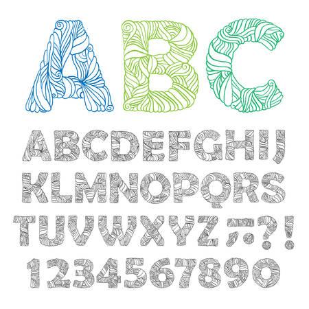 conjunto: Dibujado a mano alfabeto adornado. Las letras, números, signos. elementos de diseño de moda para impresiones de la camiseta, pósters, tazas de té, decoración de la casa. ilustración vectorial de la vendimia.