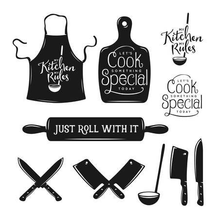 chef kitchen: Kitchen related typography set. Quotes about cooking. My kitchen, my rules. Just roll with it. Lets cook something special. Vintage vector illustration.