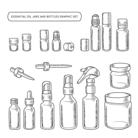 Essential oil jars and bottles hand drawn graphic set. Design elements for different decoration needs. Vector vintage illustration.