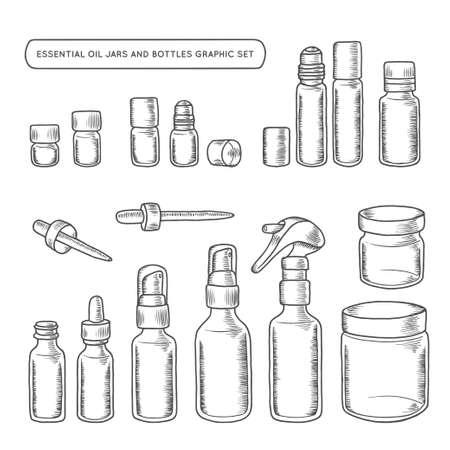 Olejki eteryczne i butelki wyciągnąć ręcznie grafiki. Elementy projektowe dla różnych potrzeb dekoracyjnych. Wektorowe rocznika ilustracji.