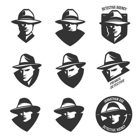police cartoon: Set of detective agency emblems with abstract men heads in hats. Trendy design elements for labels, logos, badges. Vintage vector illustration