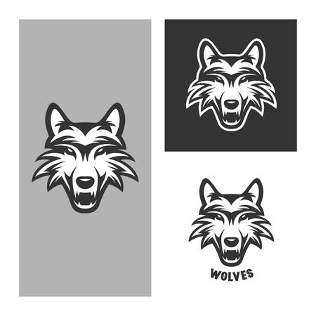 art logo: Wolf mascot for sport teams. Monochrome trendy design element for t-shirt prints, posters, logos and labels. Vintage vector illustration.