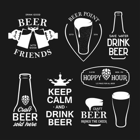 beer in bar: Beer related typography. Vector vintage lettering illustration. Chalkboard design elements for beer pub. Beer advertising.