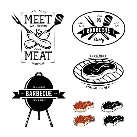 Barbecue related labels, badges and design elements. Trendy quotes about meat. Vector vintage illustration.