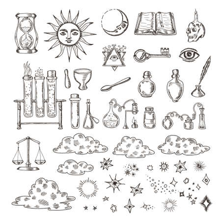 bottle of medicine: Set of trendy vector alchemy symbols collection isolated on white background. Hand drawn retro elements for different design needs. Religion, philosophy, spirituality, occultism, chemistry, science, magic. Vintage vector illustrations. Illustration