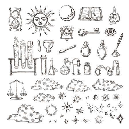 Set van trendy vector alchemie symbolen collectie op een witte achtergrond. Getrokken retro elementen voor verschillende ontwerpen behoeften. Religie, filosofie, spiritualiteit, occultisme, chemie, wetenschap, magie. Vintage vector illustraties. Vector Illustratie