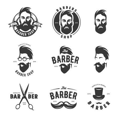 Zestaw emblematów rocznika fryzjera, etykiety, odznaki i elementów konstrukcyjnych. Monochrome męskiej twarzy. Archiwalne ilustracji wektorowych.