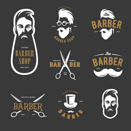 hair style collection: Set of vintage barber shop emblems, label, badges and design elements. Monochrome male faces. Vintage vector illustration.