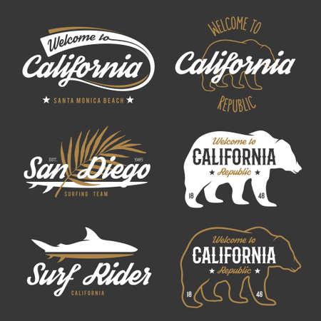 t shirt print: Vector vintage monochrome California badges. Design elements for t shirt print. Lettering typography illustrations. California republic bear. Illustration