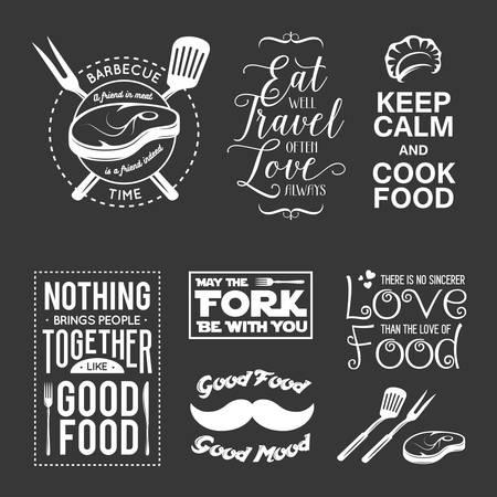 mat: Uppsättning av årgång livsmedelsrelaterade typografiska citattecken. Vektor illustration. Kök utskrivbara designelement.