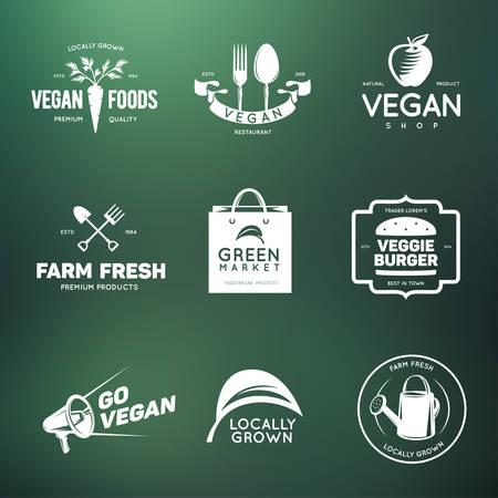 kitchen garden: Vegan related vintage badges, labels and design elements. Vegetarian emblems for shop, cafe, restaurant. Vector illustration.