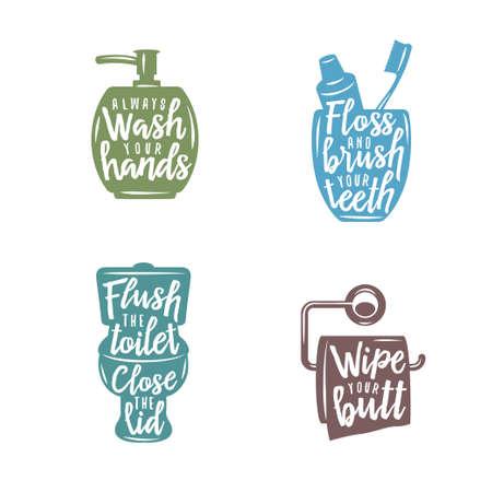 욕실 관련 빈티지 포스터 따옴표. 항상 손을 씻으십시오. 치아를 닦으십시오. 벡터 일러스트 레이 션.