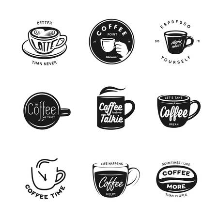 Coffee related labels, badges and design elements set.  Better latte than never. Coffee time. Coffee point. Vintage vector illustration.