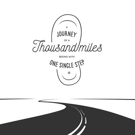 mile: Journey of a thousand miles typographic poster. Vintage vector illustration. Trendy design elements for prints, posters, decoration needs.