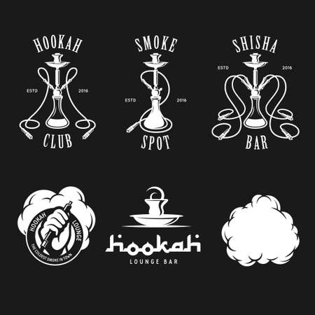 Set of hookah labels, badges and design elements. Vintage  emblem vector illustration. Illustration