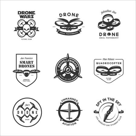 Set of drone flying club labels, badges and design elements.