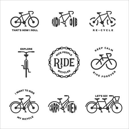 Bicycle related typography set. Motivational quotes about cycling. Minimalistic style design elements for posters, prints and decoration. Illustration