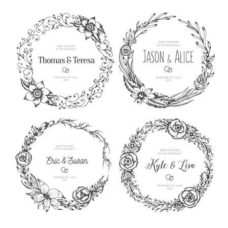 vintage wreaths. Collection of trendy cute floral frames. Graphic design elements for wedding cards, prints, decoration, greeting cards. Hand drawn round illustration set.