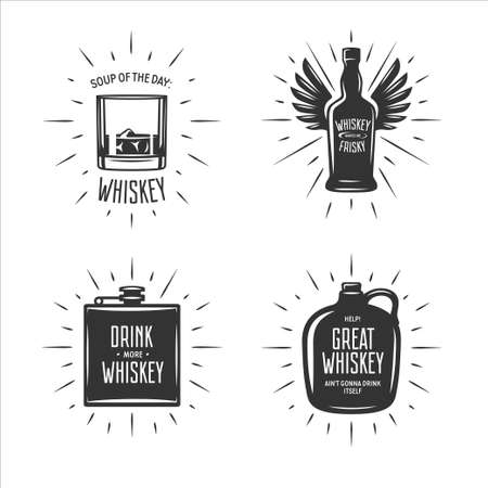 Whiskey related typography set. Quotes about whiskey. Creative trendy design elements for pub advertising, prints, posters.