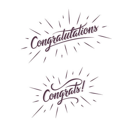 congratulations card: Congratulations. Hand lettering illustration. Calligraphic greeting inscription. handwritten typography. Trendy design element for greeting cards, prints and posters.