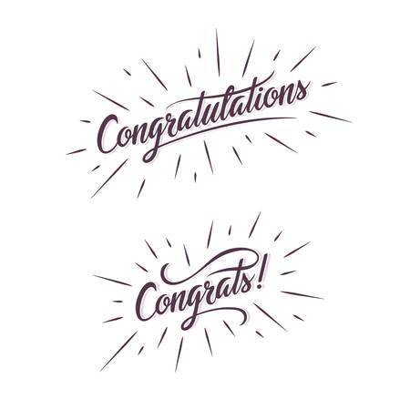 congratulations: Felicitaciones. Dé la ilustración de letras. saludo inscripción caligráfica. tipografía manuscrita. elemento de diseño de moda para tarjetas de felicitación, grabados y carteles. Vectores