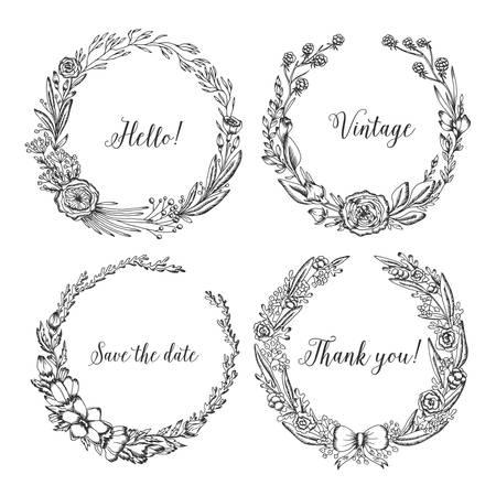 ビンテージの花輪。トレンディなかわいい花フレームのコレクションです。結婚式のカード、印刷、装飾、グリーティング カードのグラフィック デ