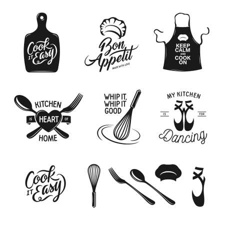 Kitchen related typography set. Quotes about cooking. My kitchen, my rules. Just roll with it. Lets cook something special.