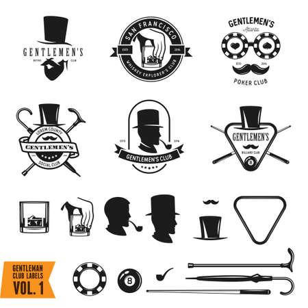 gentlemen: Collection of vintage gentleman emblems, labels, badges and design elements. Monochrome style. Vector illustration.