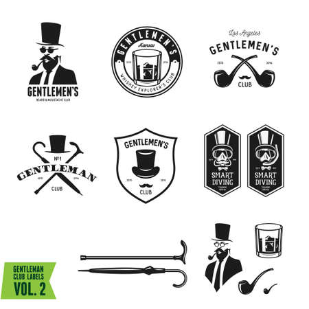 Collection of vintage gentleman emblems, labels, badges and design elements. Monochrome style.