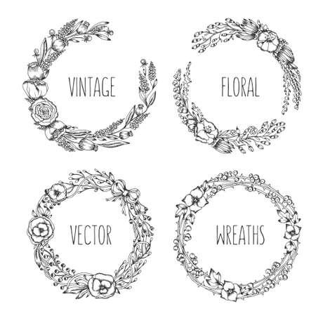 vintage kransen. Het verzamelen van trendy cute floral frames. Grafisch ontwerp elementen voor bruiloft kaarten, prenten, decoratie, wenskaarten. getrokken hand round afbeelding instellen.