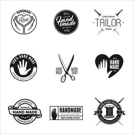taylor: Hand made labels, badges and design elements. vintage illustration. Workshop emblem. Taylor studio sign. Hand made shop advertising.