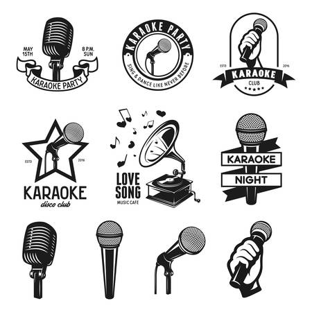 Set of karaoke related vintage labels, badges and design elements. Karaoke club emblems. Microphones isolated on white background.  イラスト・ベクター素材