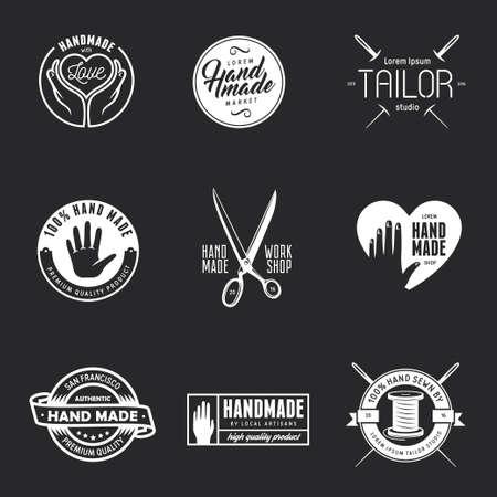 Hand made labels, badges and design elements. Workshop emblem. Taylor studio sign. Hand made shop advertising.