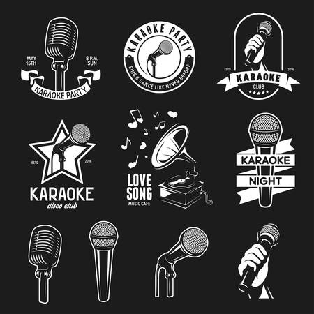 Set of karaoke related vintage labels, badges and design elements. Karaoke club emblems. Microphones isolated on white background. Ilustração
