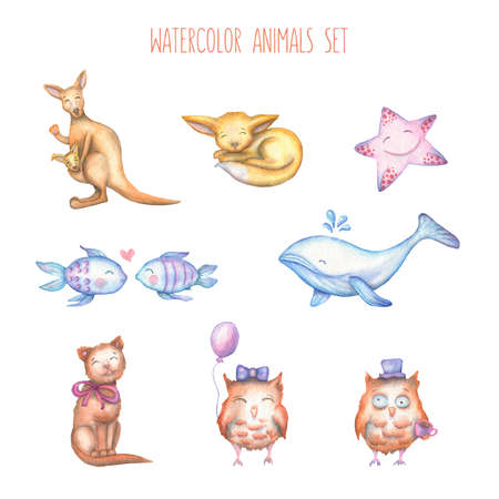 baby illustration: Watercolor set of cute hand drawn animals in cartoon style. Kangaroo, fox, fenek, starfish, fishes whale, cat, owls. Illustration in high resolution. Design elements for greetings cards, prints, posters. Stock Photo