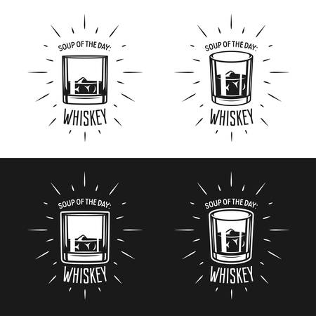 bourbon whisky: Soup of the day. Whiskey related typography. Creative trendy design elements for pub advertising, prints, posters.