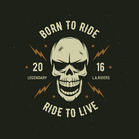 Vintage motorcycle t-shirt graphics. Born to ride. Ride to live. Biker t-shirt. Motorcycle emblem. Monochrome skull. Vector illustration. Illustration
