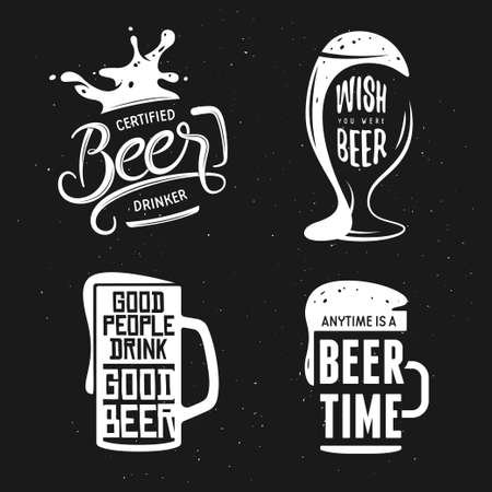Beer related typography. Vintage lettering illustration. Chalkboard design elements for beer pub. Beer advertising. Çizim