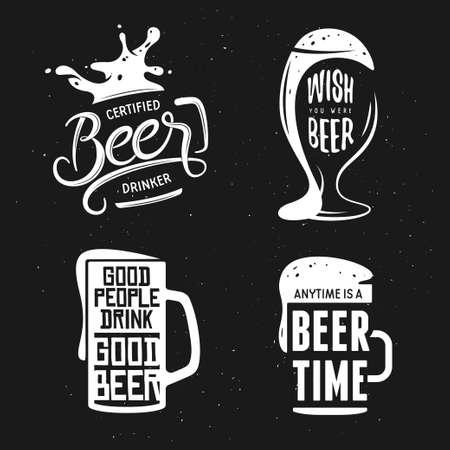 Beer related typography. Vintage lettering illustration. Chalkboard design elements for beer pub. Beer advertising. Vectores