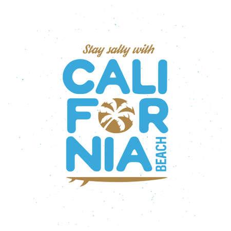 california beach: California beach t-shirt graphics. California related apparel design. Vintage style illustration.