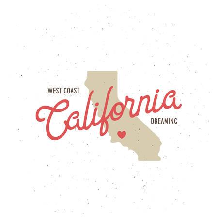 California Dreaming T-Shirt mit Grafiken. Kalifornien im Zusammenhang mit Bekleidung Design. Vintage-Stil Illustration. Standard-Bild - 57558494