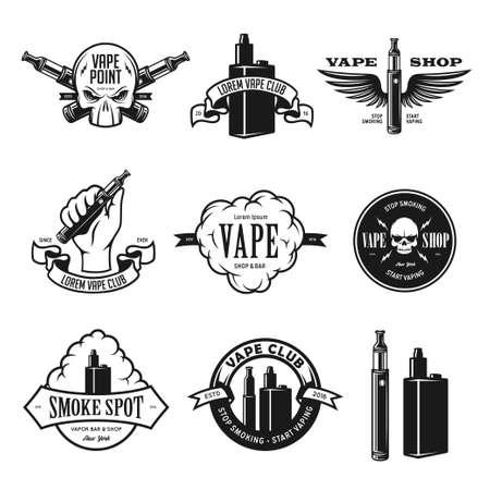 negozio: Set di Vape, emblemi e-sigaretta, etichette, stampe. illustrazione d'epoca. Isolato su sfondo bianco.